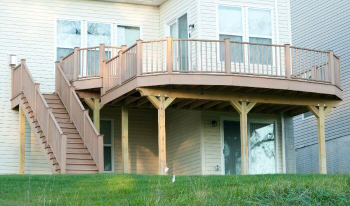 wooden two story deck