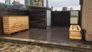 wooden deck on a roof