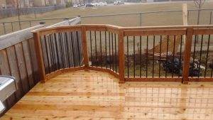 custom shaped wooden deck