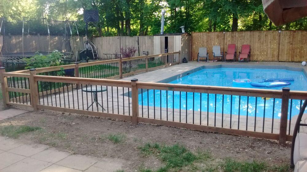 short rail built around a pool