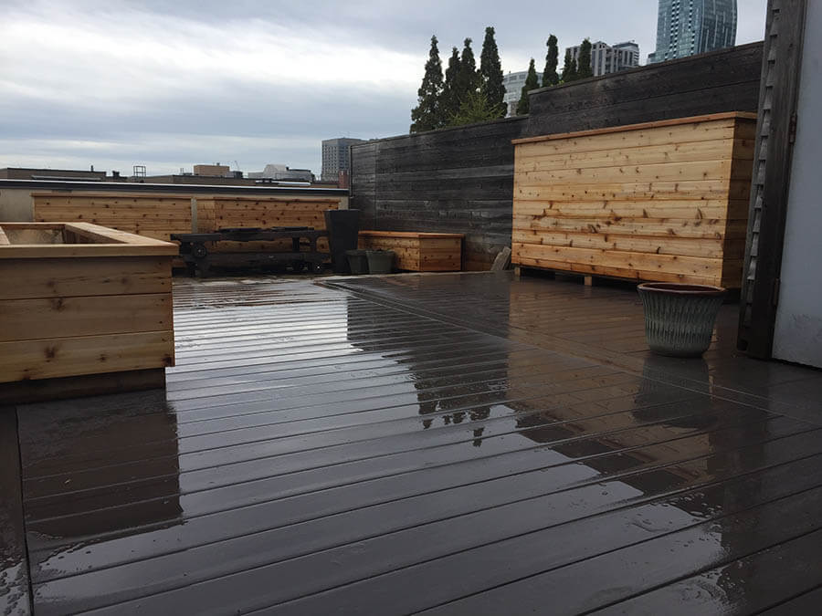 a finished completed rooftop deck